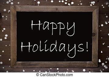 chalkboard, com, feliz, feriados, snowflakes