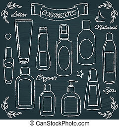 Chalkboard cosmetic bottles set 1 - Set of hand drawn...