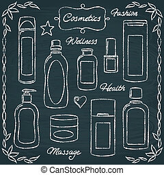 Chalkboard cosmetic bottles set 2 - Set of hand drawn...