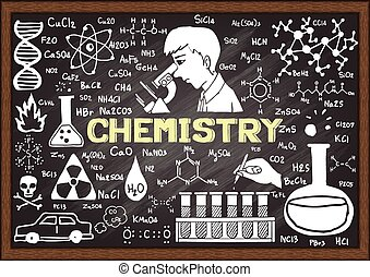 chalkboard., dessiné, chimie, main