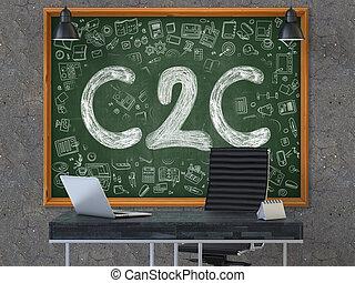 chalkboard., doodle, concept., c2c, ikony