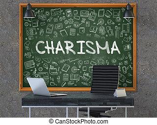chalkboard., doodle, concept., charyzma, ikony
