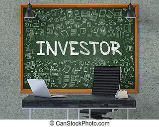 chalkboard., doodle, concept., inwestor, ikony