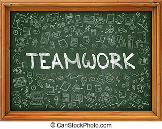 chalkboard., doodle, concept., teamwork, ikony