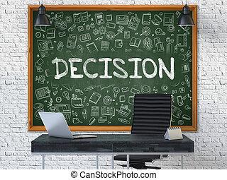 chalkboard., doodle, decyzja, concept., ikony