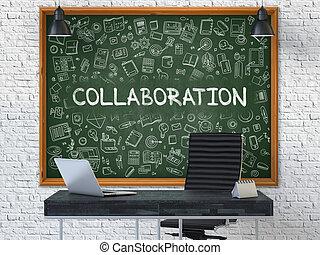 chalkboard., doodle, współpraca, concept., ikony