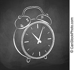 Chalkboard drawing alarm clock.