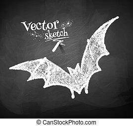 Chalkboard drawing of bat