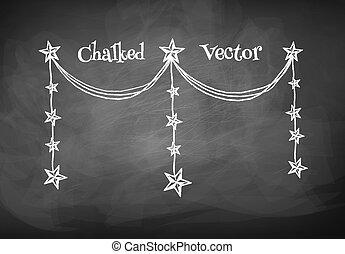 Chalkboard drawing of garland.
