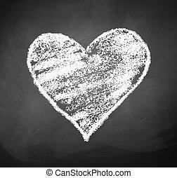 Chalkboard drawing of heart.