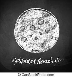 Chalkboard drawing of moon.