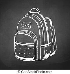 Chalkboard drawing of school bag