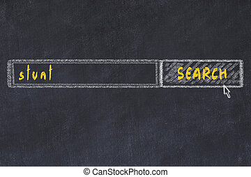 Chalkboard drawing of search browser window and inscription stunt.