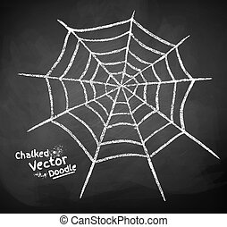 Chalkboard drawing of spider web.
