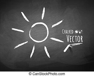 Chalkboard drawing of sun.