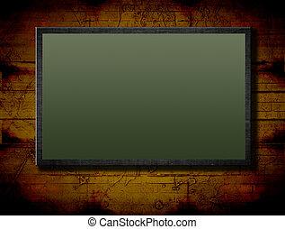 Chalkboard - Green chalkboard over vintage brown background....