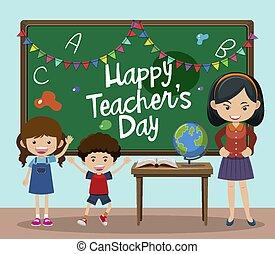 chalkboard, dzieciaki, klasa, nauczyciel, szczęśliwy, nauczycielski, dzień, tekst