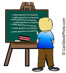 chalkboard easel with naughty boy writing lines