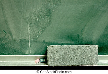 Chalkboard & Eraser - Close-up of a dusty grungy chalkboard...