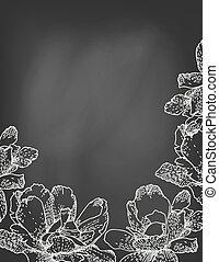 chalkboard., fiori, vettore, illustrazione