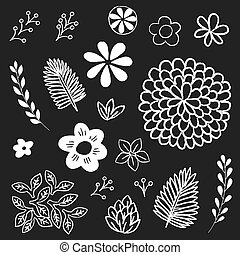 Chalkboard Floral and Leaf Elements