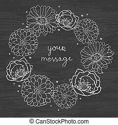 vector chalkboard floral cirlce frame on blackboard seamless pattern background