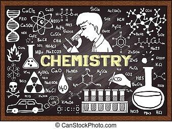 chalkboard., getrokken, chemie, hand