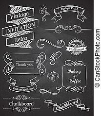 chalkboard, hånd, stram, vinhøst, vektor, elementer