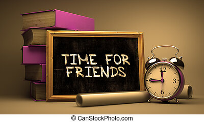 chalkboard., handskrivet, vänner, tid