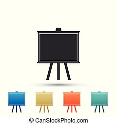 Chalkboard icon isolated on white background. School Blackboard sign. Set elements in colored icons. Flat design. Vector Illustration