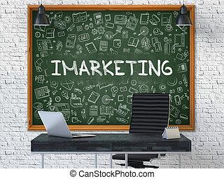 chalkboard., imarketing, concept., doodle, ikony