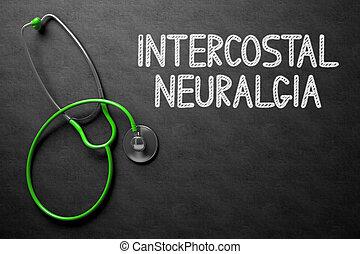 chalkboard., intercostal, 3d, illustration., neuralgia