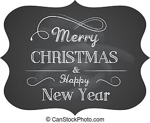 chalkboard, kerstmis, achtergrond, met, elegant, tekst