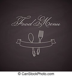 Chalkboard label with fork, spoon and ribbon.