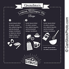Chalkboard meal recipe template vector design with food...
