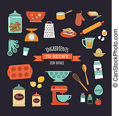 Chalkboard meal recipe template vector design with food ...