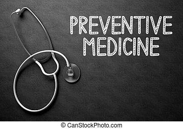 chalkboard., medicina, preventivo, illustration., 3d