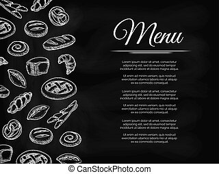 Chalkboard menu background with bakery products