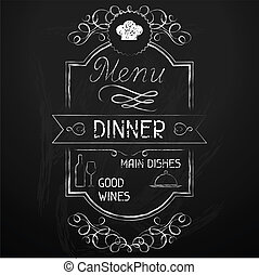 chalkboard., menu, cena, ristorante