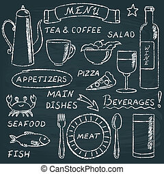 Chalkboard menu elements set 2