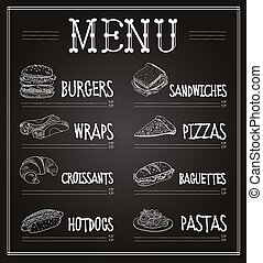 Chalkboard Menu Template. Vector Illustration