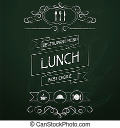 chalkboard., meny, lunch, restaurang