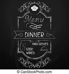 chalkboard., meny, middag, restaurang