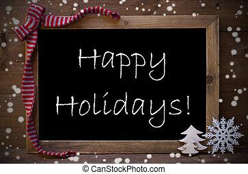 chalkboard, met, kerstversiering, vrolijke , feestdagen, snowflakes