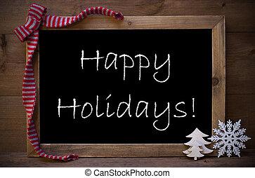 chalkboard, met, kerstversiering, vrolijke , feestdagen