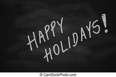 chalkboard, met, vrolijke , feestdagen, boodschap