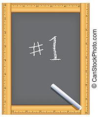 chalkboard, numere um, régua, quadro