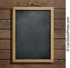 chalkboard, of, bord, hangend, houten muur