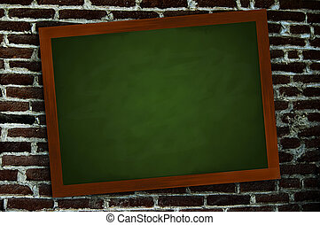 A green chalkboard in a frame of wood on a wall