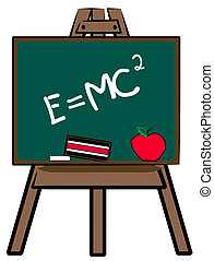 chalkboard on easel with theory of relativity